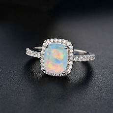 luxury white blue green fire opal silver wedding ring white gold gifts size 5 11 ebay