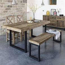 table en bois brut standford industrial reclaimed wood dining table