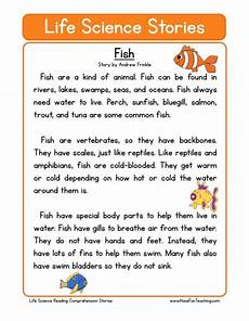 reading comprehension worksheet fish