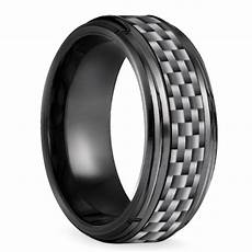 beveled carbon fiber men s wedding ring in black titanium