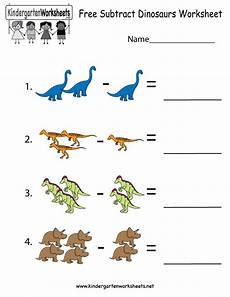 free printable subtract dinosaurs worksheet for kindergarten