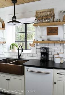 white ceiling fan subway kitchen backsplash ideas our farmhouse kitchen thoughts years after our
