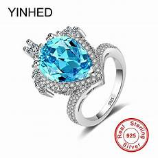 yinhed exaggerated big crown ring pure 925 sterling silver wedding engagement rings for