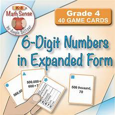 multi match game cards 4b 6 digit numbers in expanded form from k 8 math sense