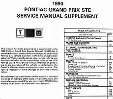 car repair manual download 1990 pontiac grand prix turbo interior lighting 1990 pontiac grand prix ste repair shop manual original supplement