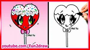 Heart Lollipop  Candy Sprinkles How To Draw A