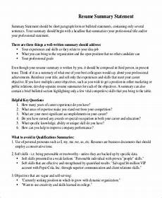 resume qualifying statement exles resume summary statement exle 9 sles in word pdf