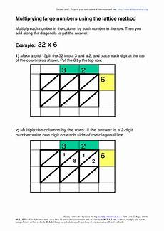 multiplying using the lattice method worksheet for 4th 5th grade lesson planet