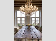 Rustic Dining Room with Chandelier, Exposed beam