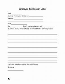 employee dismissal form free employee termination letter template pdf word eforms free fillable forms