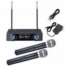 cordless microphone system professional dual channel uhf wireless microphone system w 2 handheld mics ebay