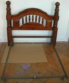 bed frame plank headboard funky vintage circa 1970 s wooden solid wood headboard metal