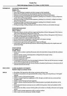 resume for restaurant servers excellent food server resume