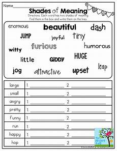 shades of meaning tons of other great printables 2nd grade 2nd grade grammar 3rd grade
