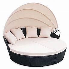 Li Il Garten Lounge Polyrattan Sunbed Lounge Rund In Schwarz