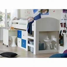 bureau lit combiné lit combin 233 enfant contemporain blanc bleu florentin