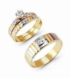 14k tri color gold cut cz ribbed wedding ring