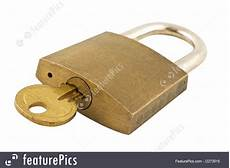 Image Of Up Of A Lock With Key Isolated