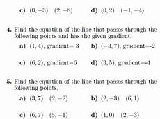 equation of a straight line worksheets with solutions by math w teaching resources