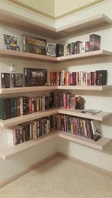Floating Corner Bookshelves
