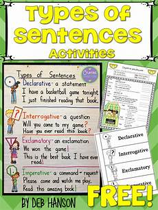 crafting connections types of sentences an anchor chart and free resources