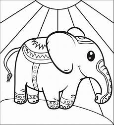 free printable circus elephant coloring page for kids