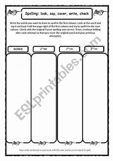 spelling practice worksheets look cover write check 22456 spelling practice look say cover check esl worksheet by tvillikko