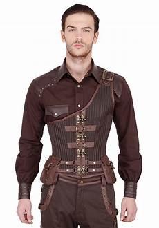 corset homme serre taille steunk marron tissu brocart