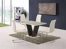 Esstisch Hochglanz Grau - grey high gloss glass dining table and 4 white chairs