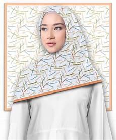 Jilbab Segi Empat Motif Hairpin Pattern Printout Shop