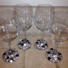 homemade jeweled wine glasses crafts pinterest homemade bridal shower and glasses