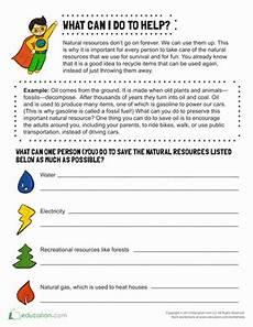 preservation of natural resources brainstorm worksheet education com