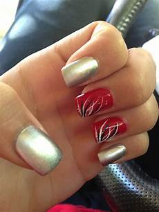 silver and red nails red nails nails nail art