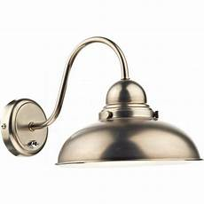 chrome retro style wall light with large metal shade