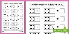 domino doubles addition to 20 worksheet