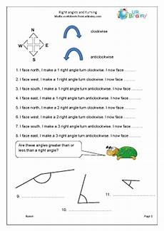 right angles and turning geometry shape maths worksheets for year 3 age 7 8