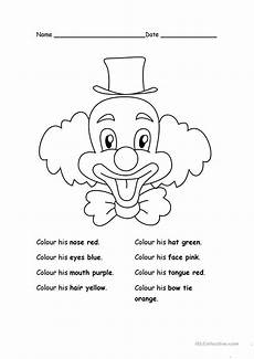 colour the clown english esl worksheets for distance learning and physical classrooms