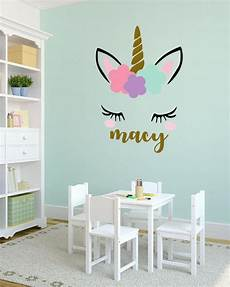 any color large unicorn wall unicorn wall decal name personalized unicorn wall etsy
