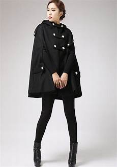 Black Cape Coat Winter Poncho Style Hooded Jacket