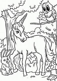 unicorn gossip between unicorn owl and rabbit to color