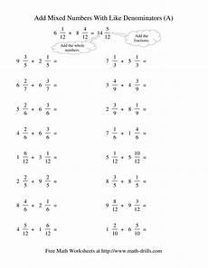 5th grade math worksheet adding fractions with unlike denominators adding mixed fractions like denominators no reducing no