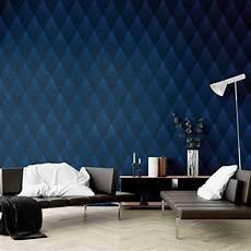 blaue tapeten tapete vlies rautenformen blau schwarz glitzer 374191 von