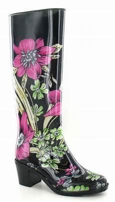 Gummistiefel Mit Blumen - spot on gummistiefel damen mit absatz blumen aufdruck eu