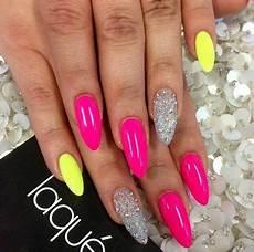 nehty almond neon and glitter almond nails nehet nehty a neonov 233