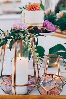 14 geometric wedding table decor ideas copper wedding decorations terrarium wedding