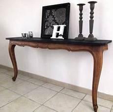 fabriquer une console en bois console fabriqu 233 e avec table en bois plateau peinture noir