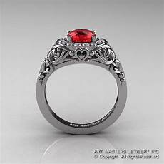 italian 14k white gold 1 0 ct ruby diamond engagement ring
