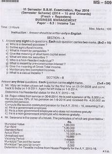 bu bbm income tax may 2016 question paper university