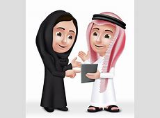 Realistic 3D Arab Kids Characters Boy And Girl Stock