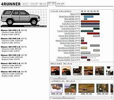 toyota 4runner 2nd gen color code chart toyota 4runner
